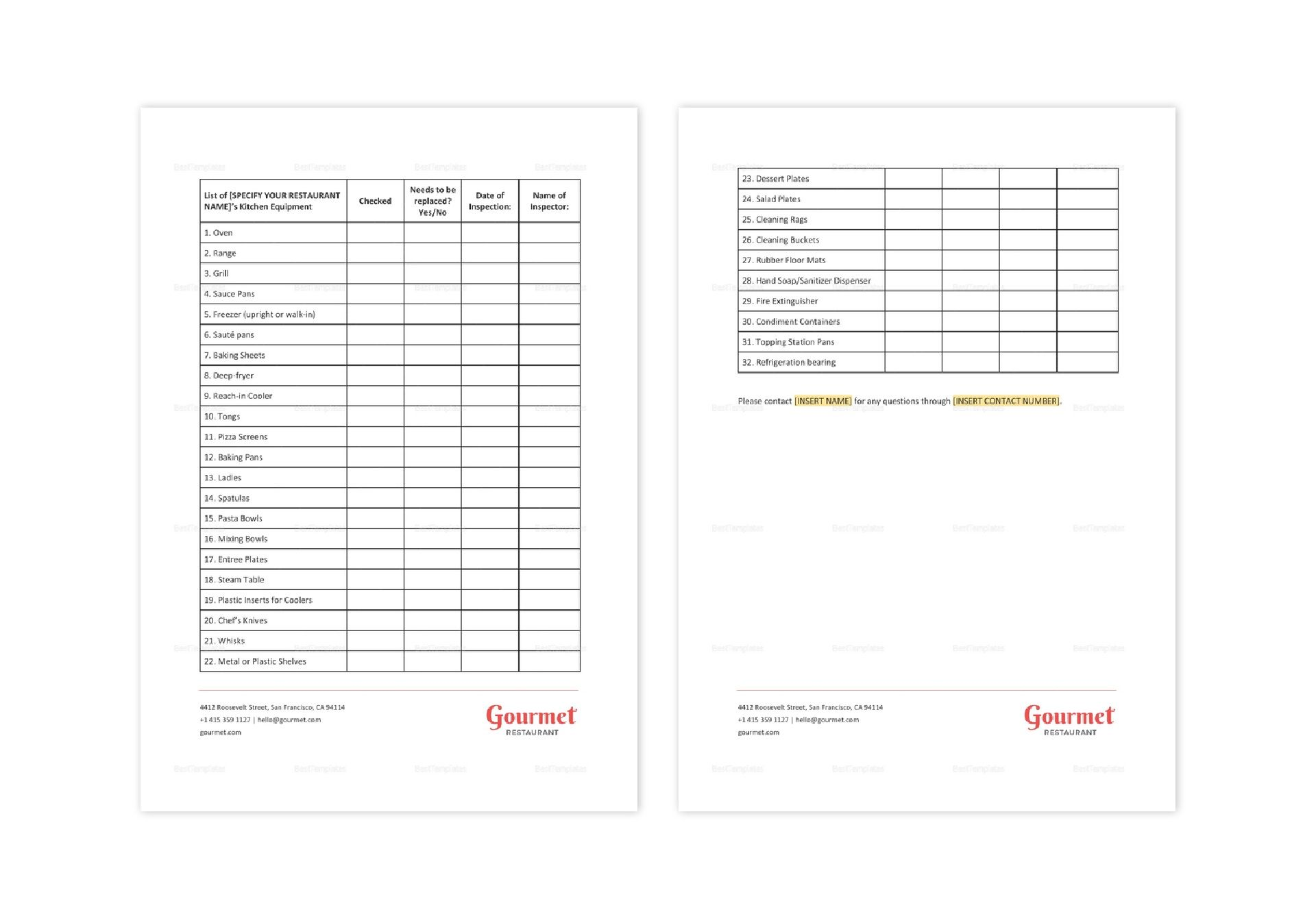 Restaurant Kitchen Equipment Checklist Template in MS Word