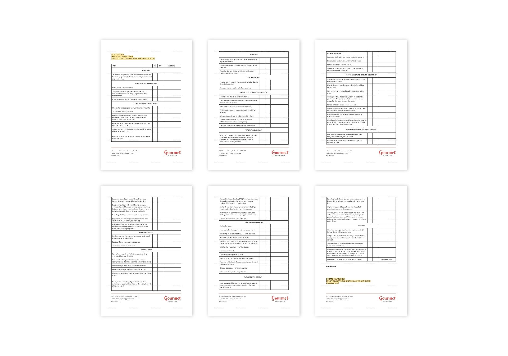 Restaurant Food Service Checklist Template in MS Word, Pages
