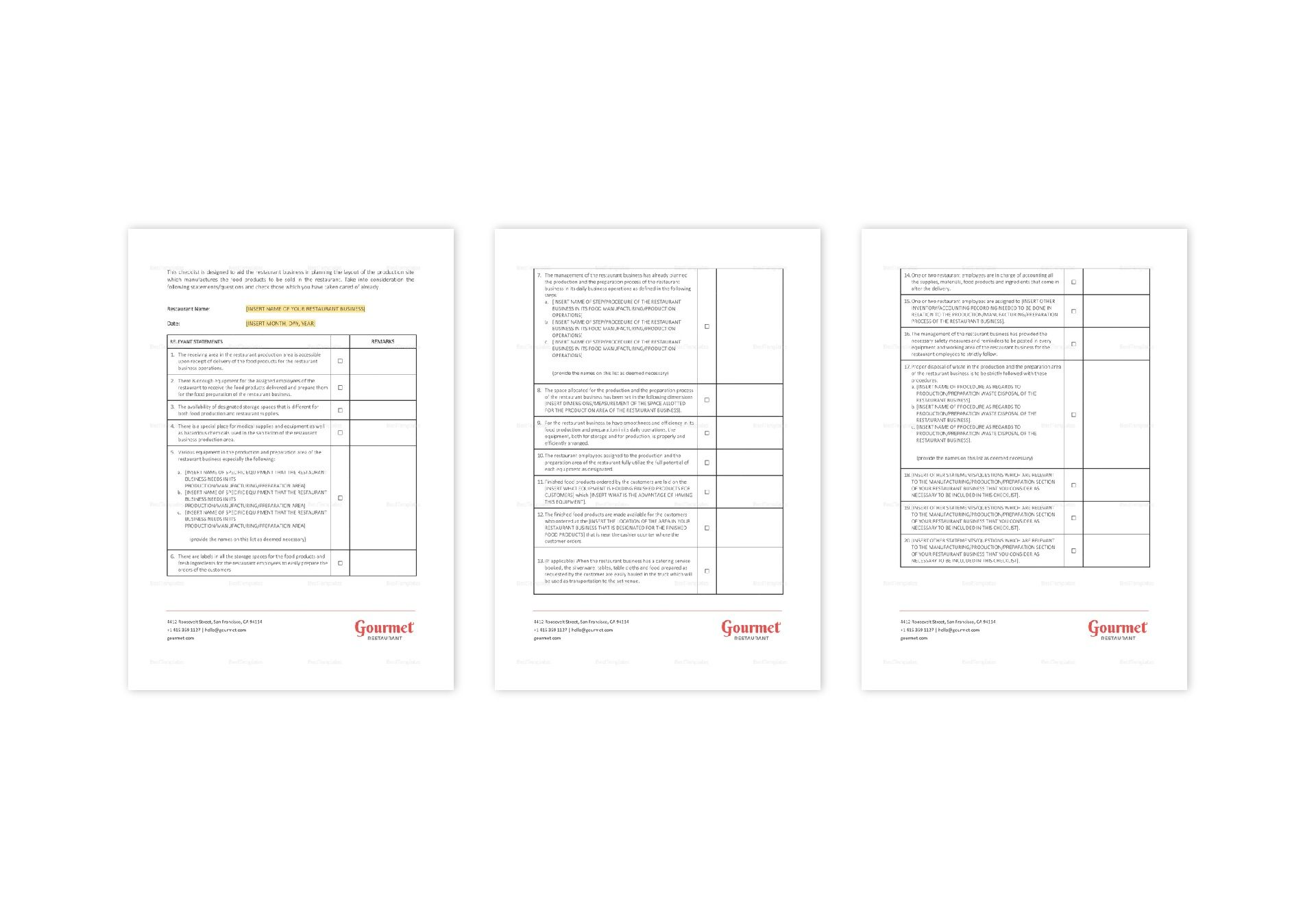 Manufacturer Analysis Checklist Template in Word, Apple Pages