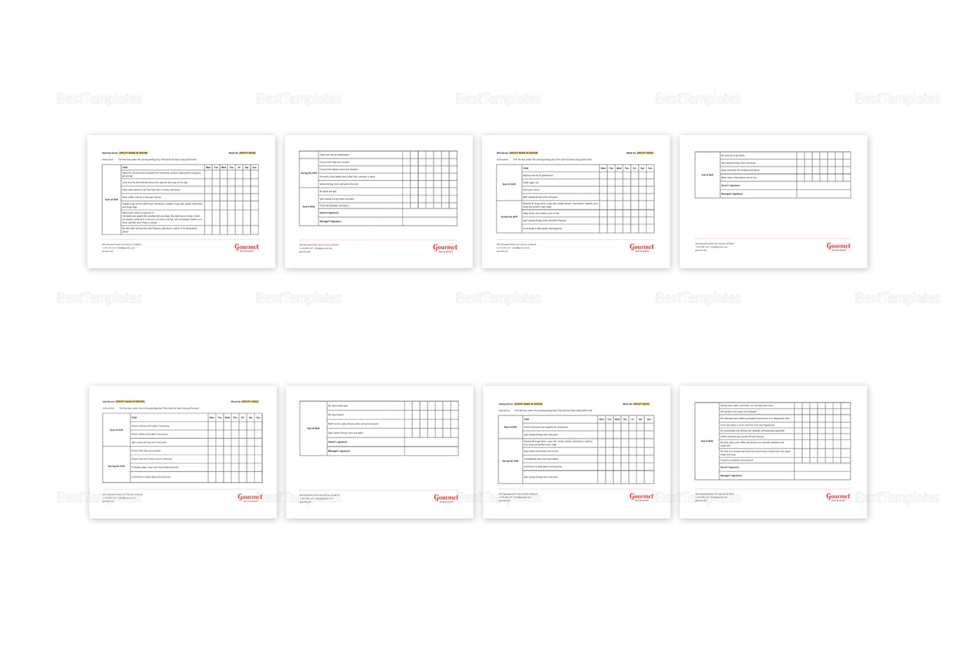 Restaurant Server Sidework Checklist Template in MS Word