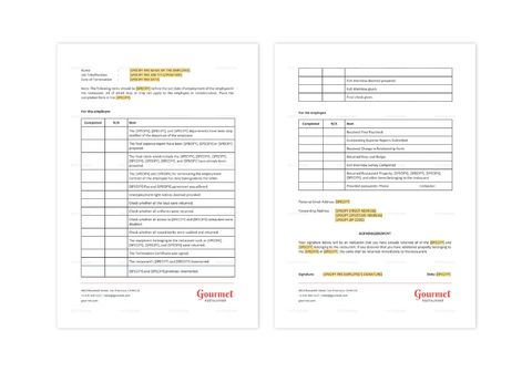 Restaurant Employee Termination Checklist Template in MS