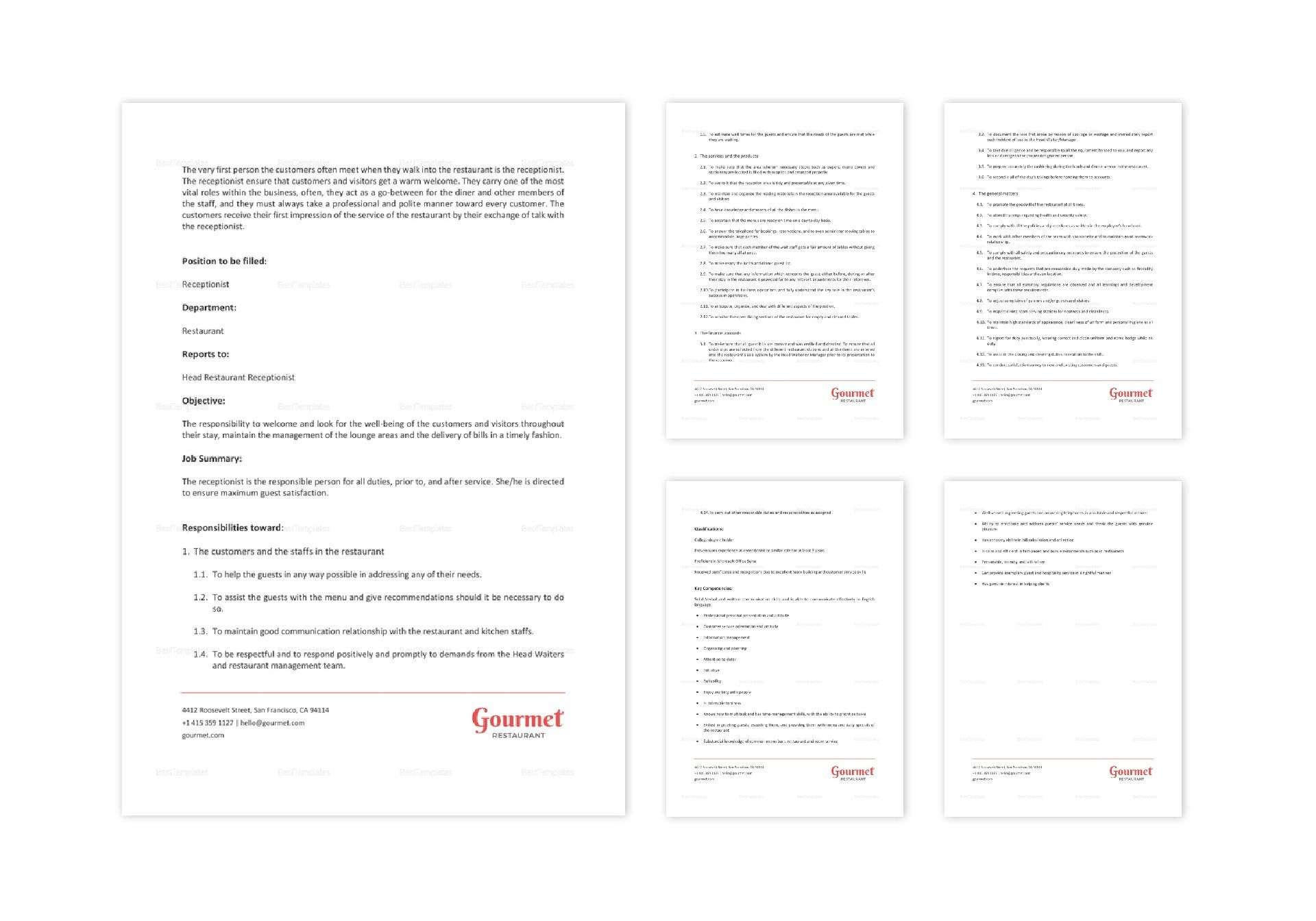 Restaurant Receptionist Job Description Template in Word