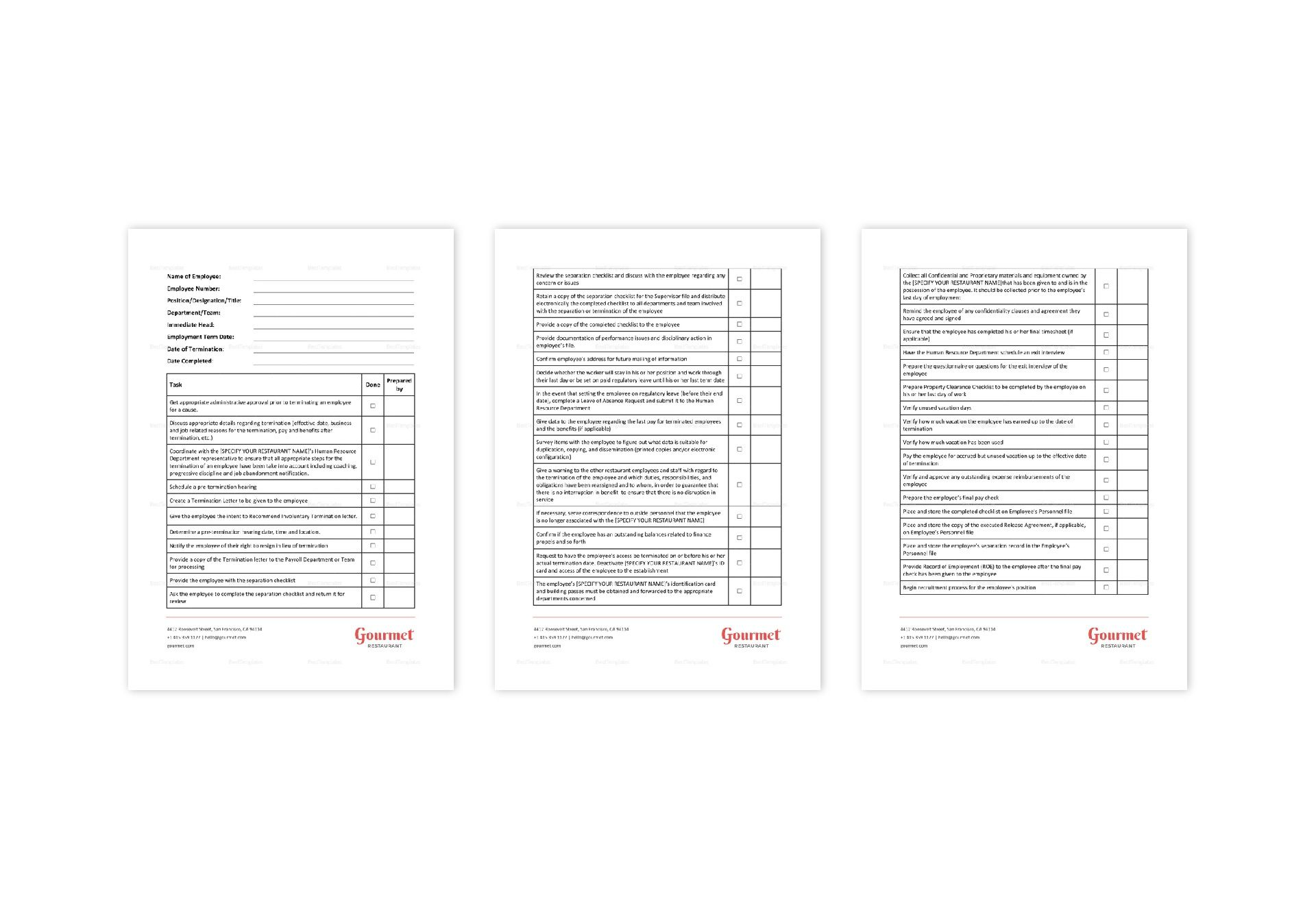 Employee Pre-Termination Checklist Template in Word, Apple