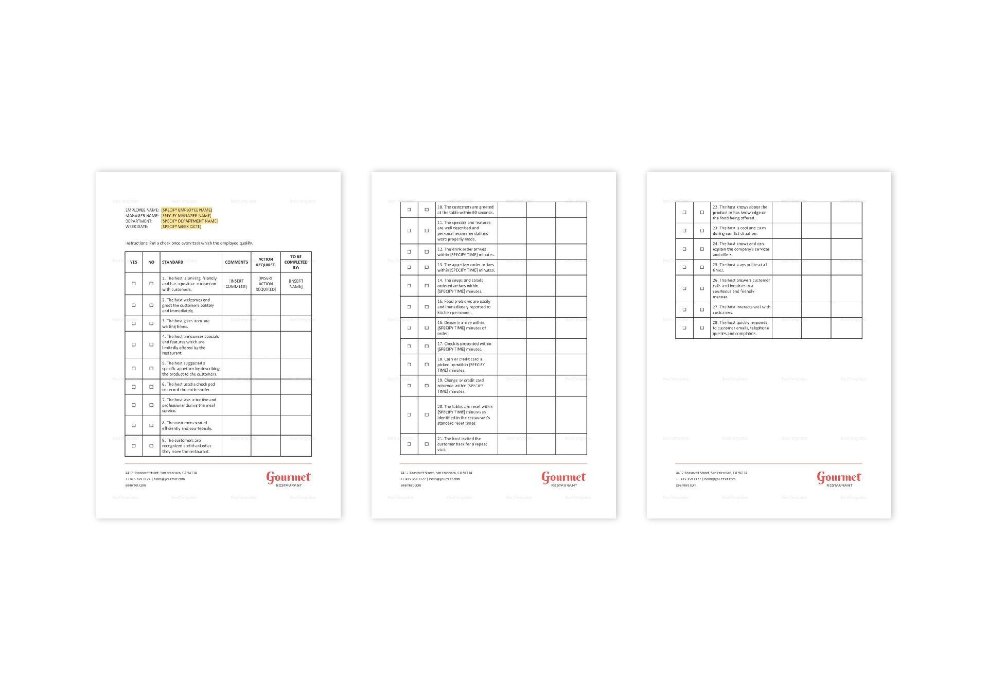 Restaurant Customer Service Checklist Template in MS Word