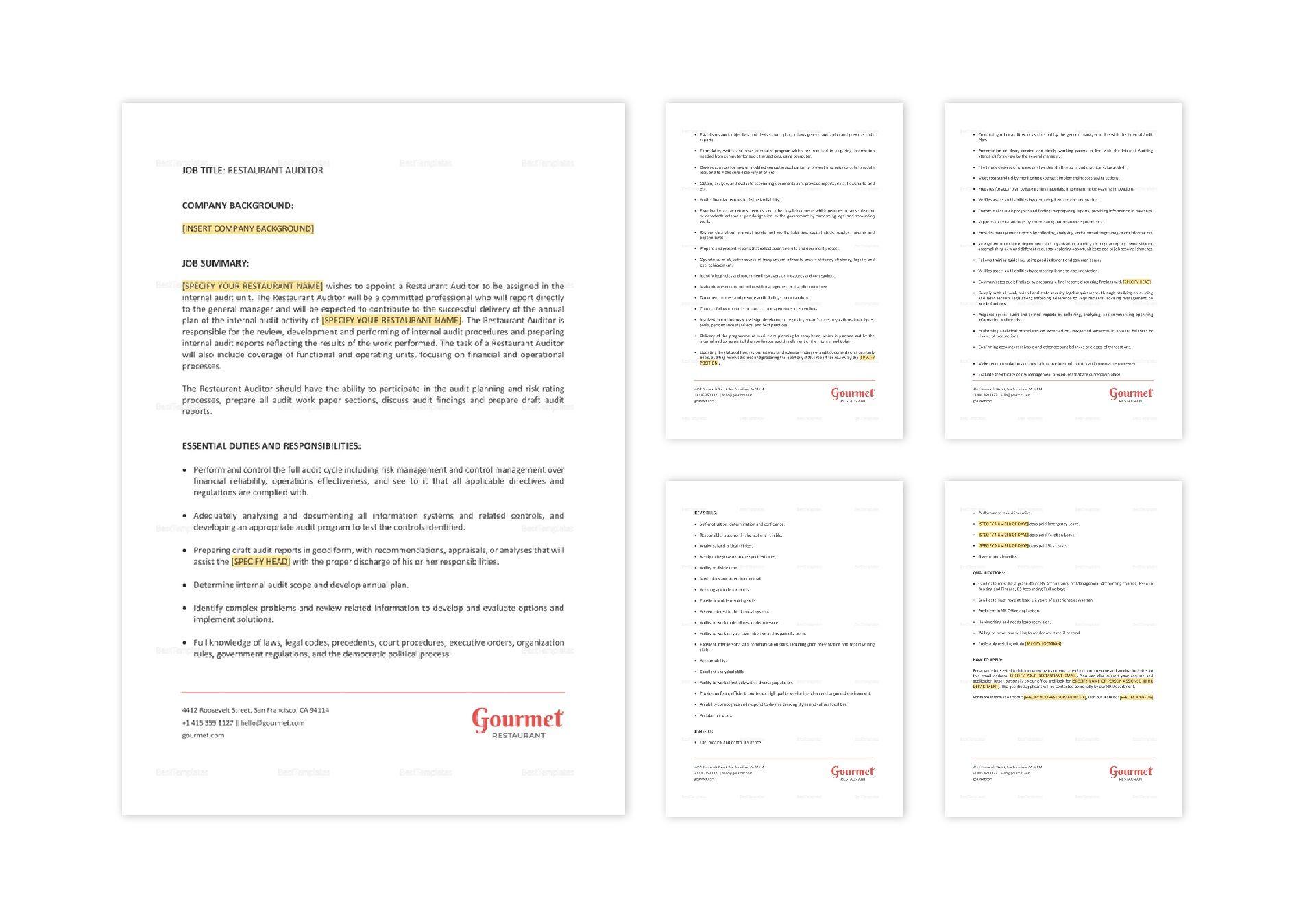 Restaurant Auditor Job Description Template in Word, Apple