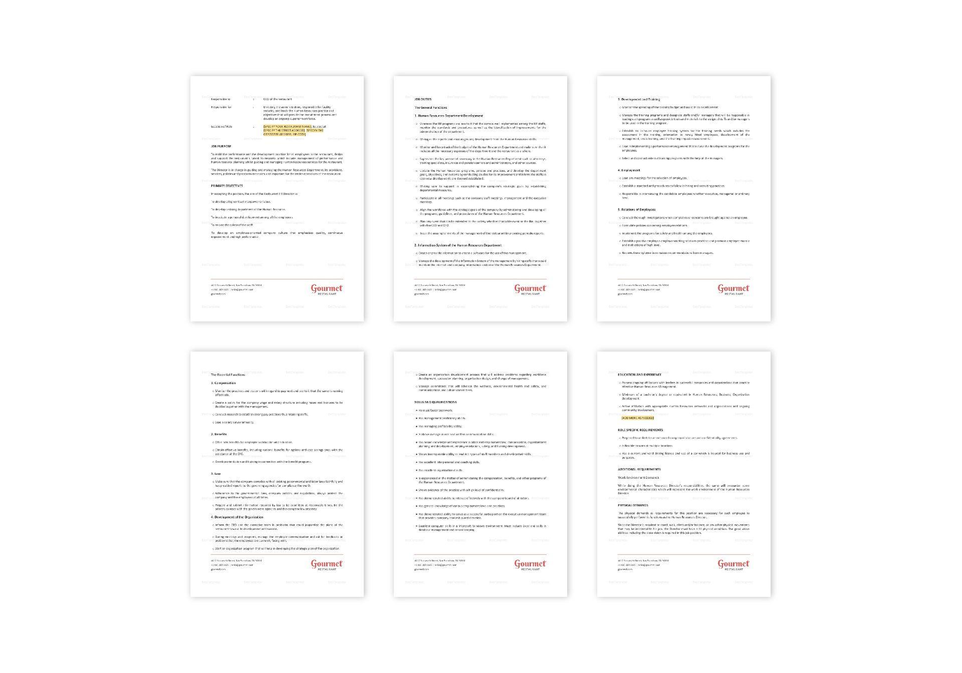 Restaurant HR Director Job Description Template in Word