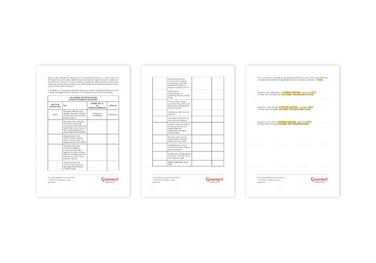 Restaurant New Manager / Owner Change Checklist Template