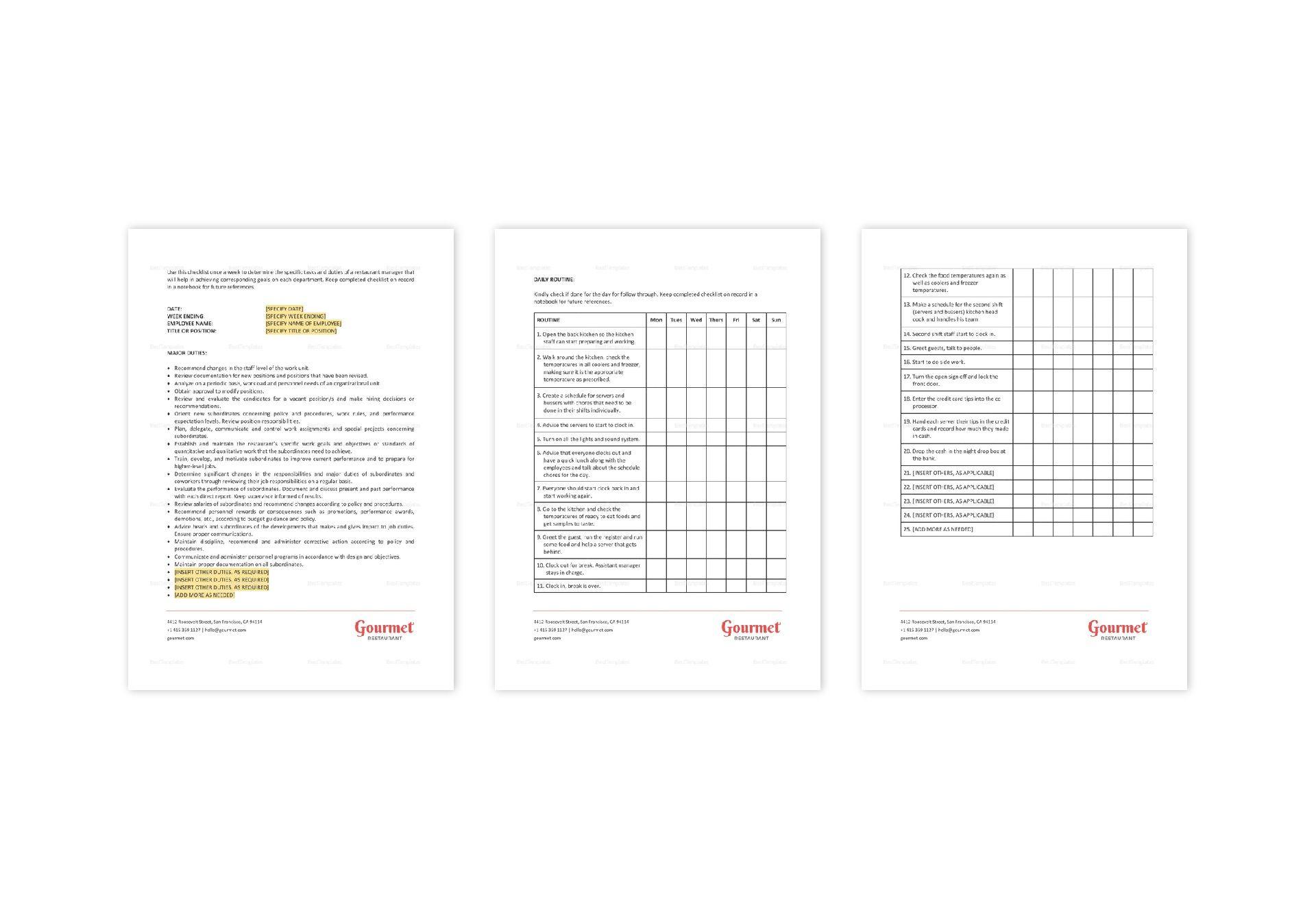 Restaurant Routine Managerial Duties Checklist Template in