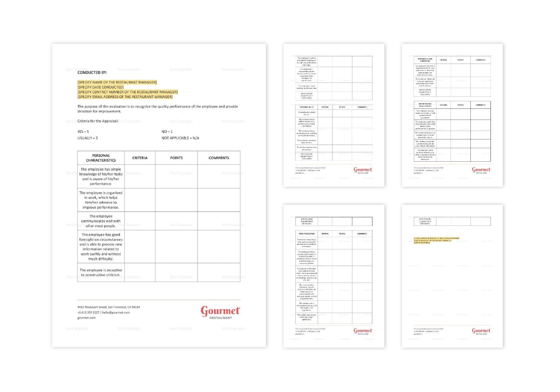 Restaurant Employee Appraisal Form Template in Word, Apple