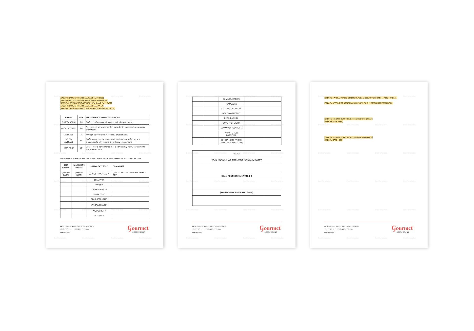 Restaurant Employee Performance Review Form Template in