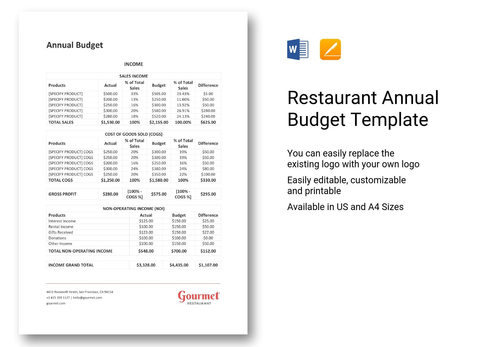Restaurant Annual Budget Template In Word Apple Pages