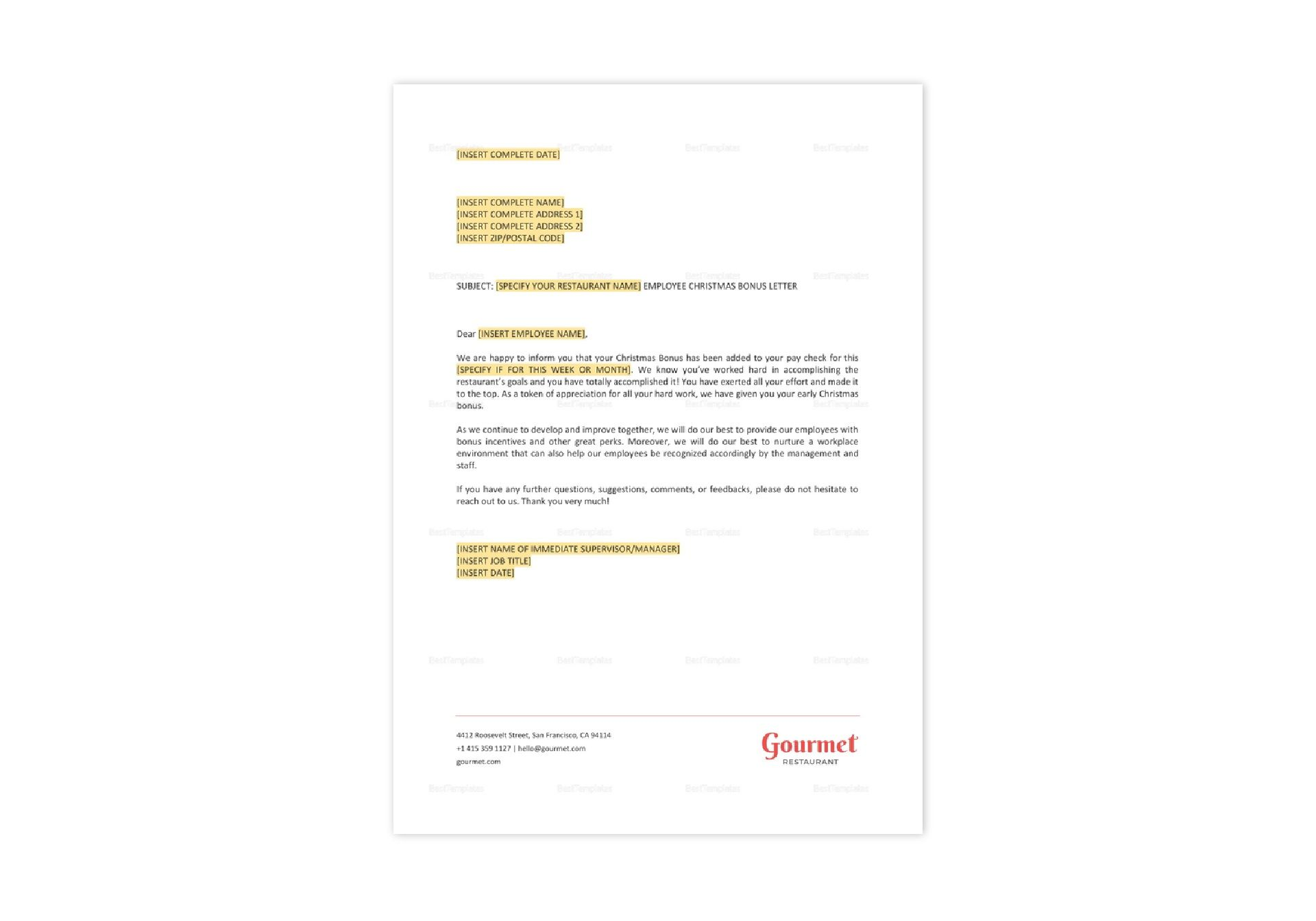 Restaurant Employee Christmas Bonus Letter Template in