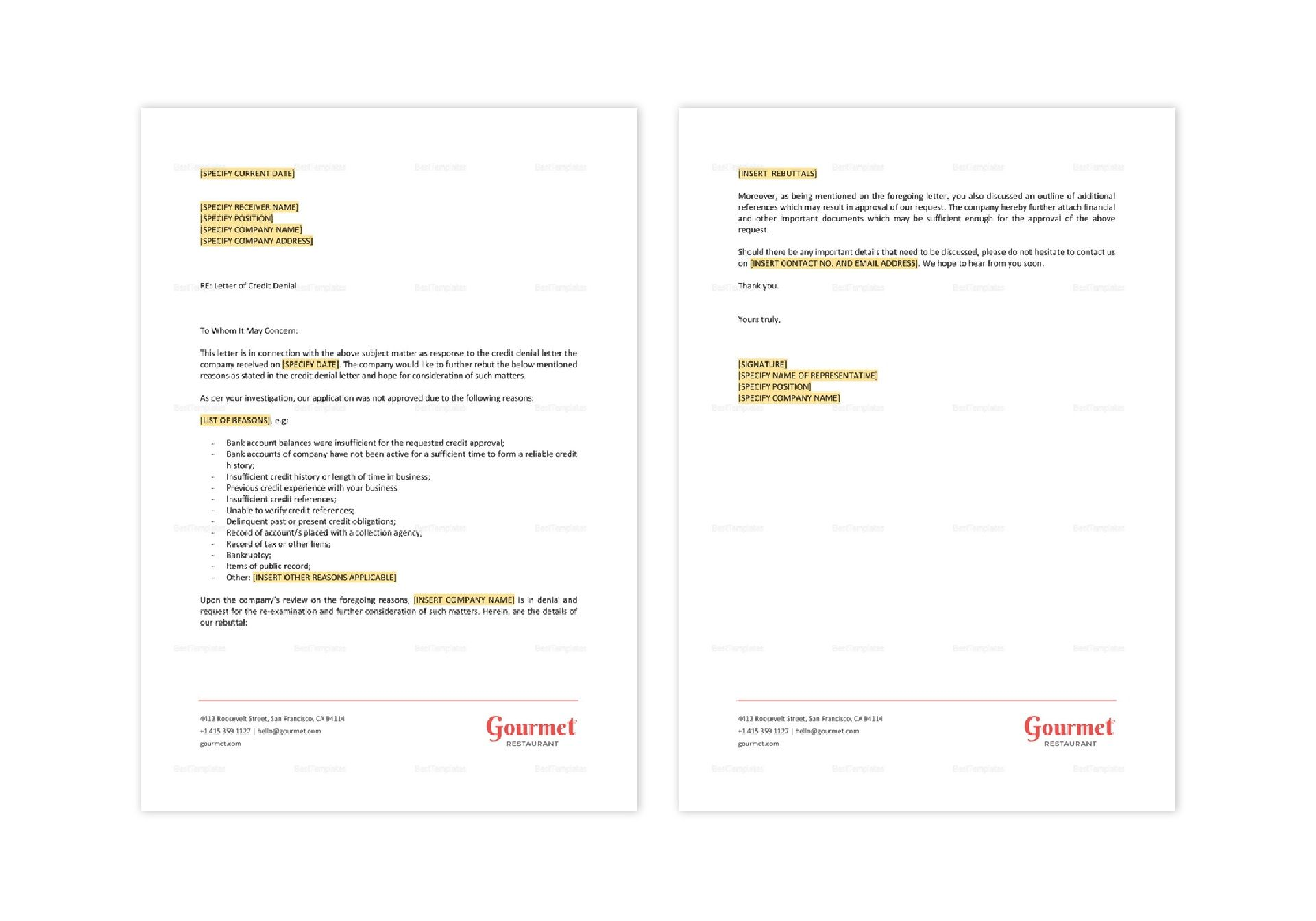 Restaurant Letter Challenging a Credit Denial Template in