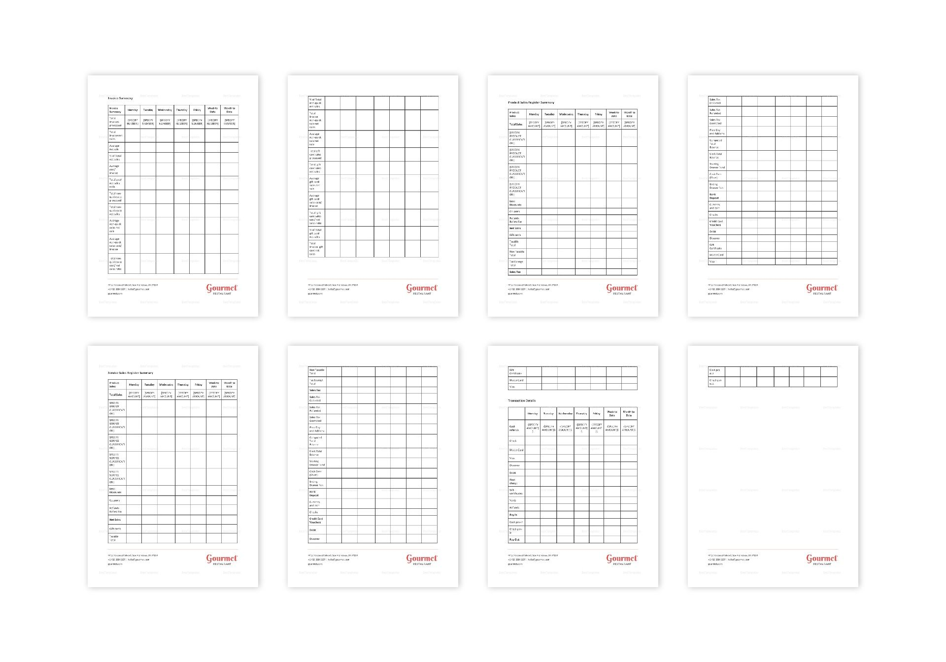 Restaurant Sales Tracking Template in Word, Apple Pages