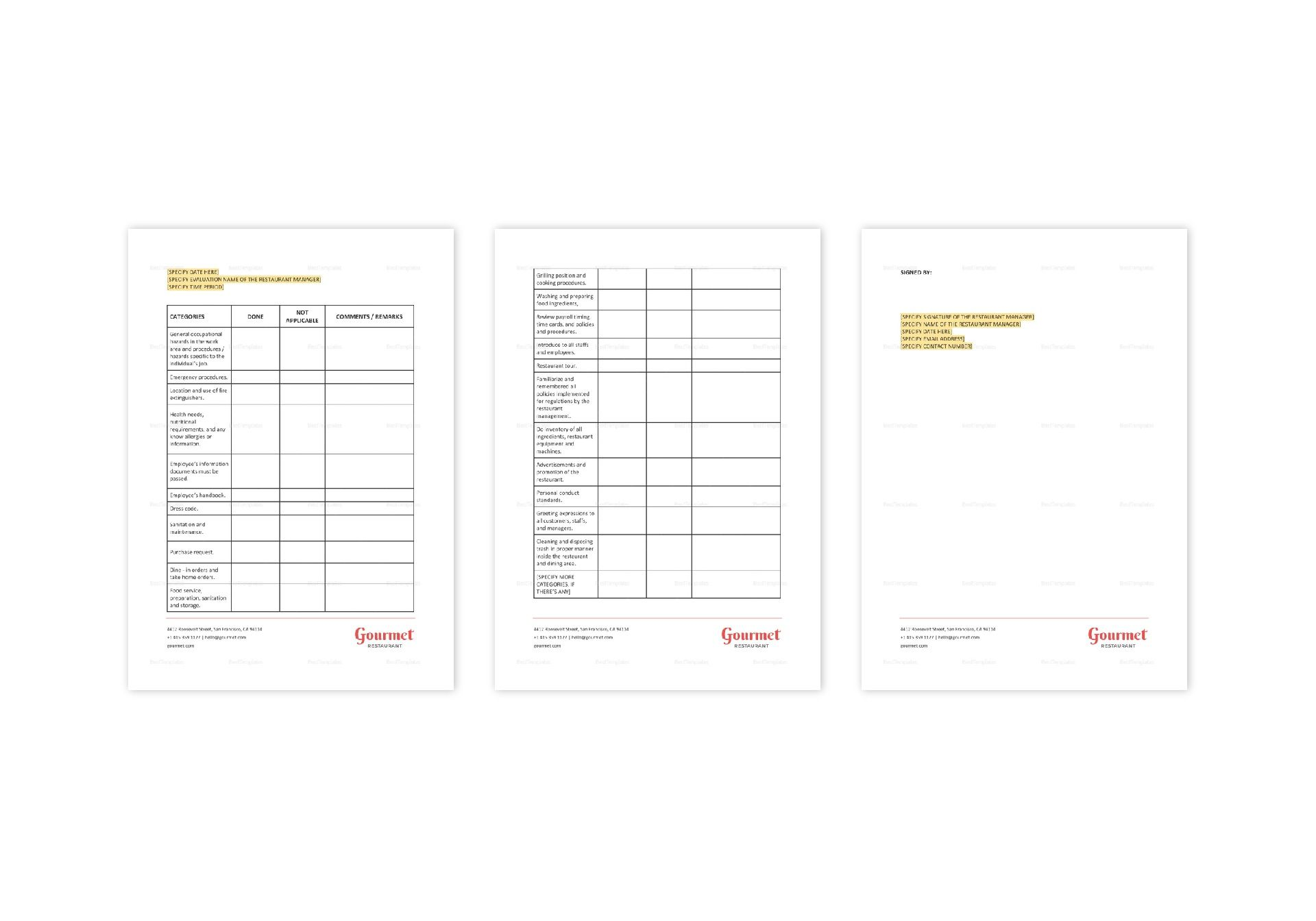Restaurant Employee Training Checklist Template in Word
