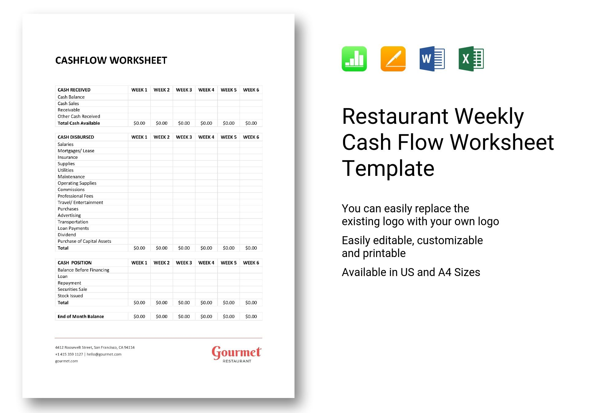Restaurant Weekly Cash Flow Worksheet Template In Word Excel Apple Pages Numbers