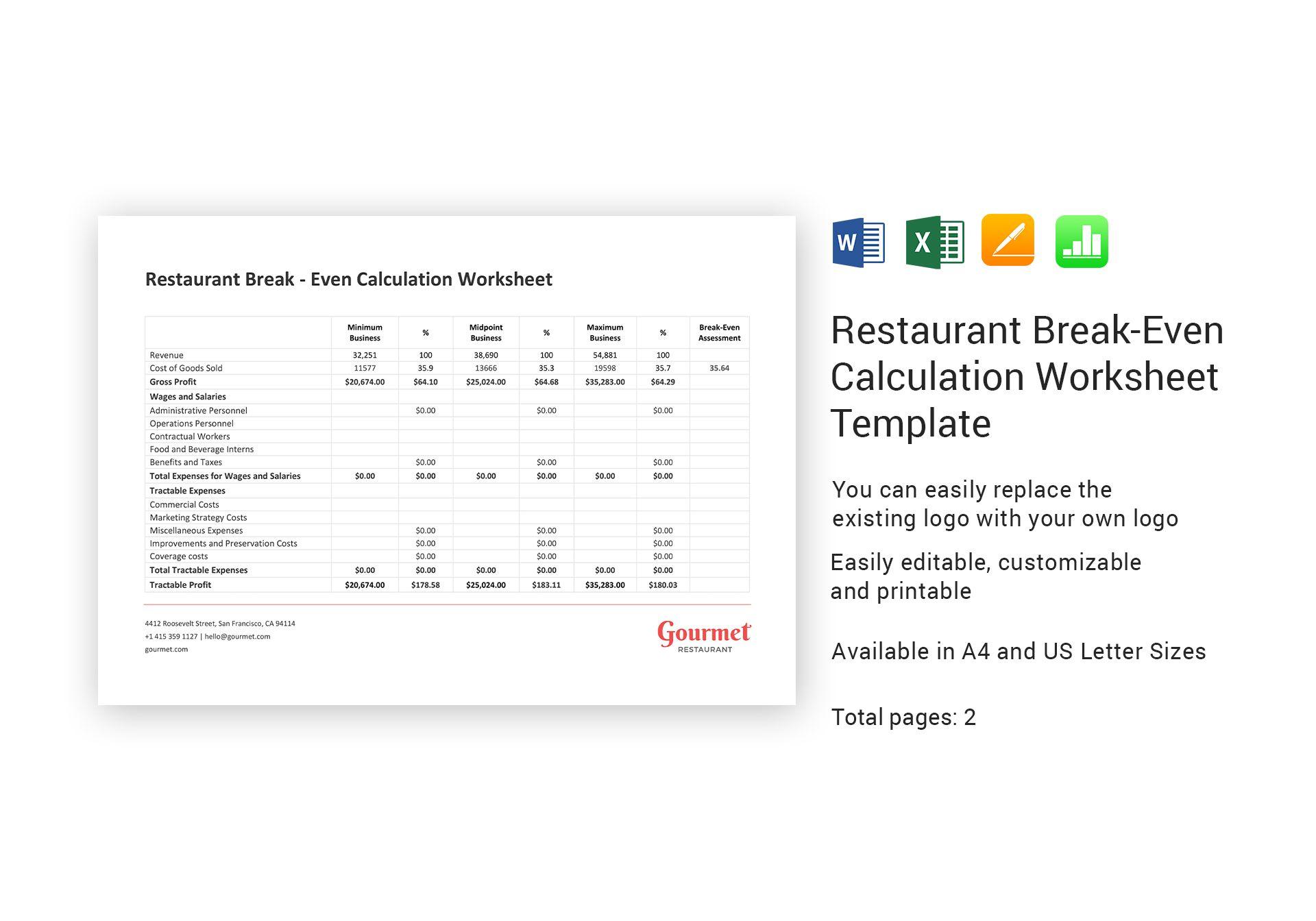 Restaurant Break Even Calculation Worksheet Template In