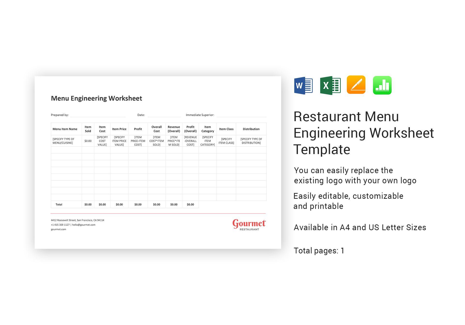 Restaurant Menu Engineering Worksheet Template In Word