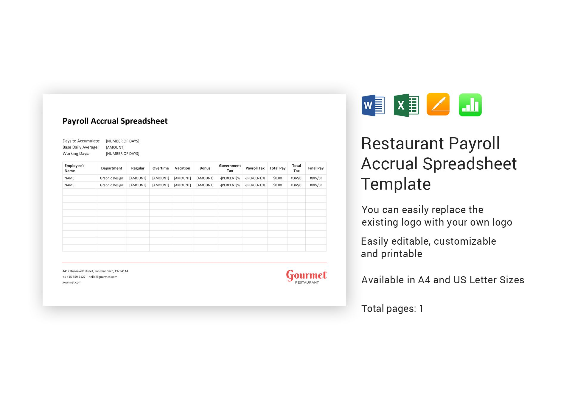 Restaurant Payroll Accrual Spreadsheet Template In Word