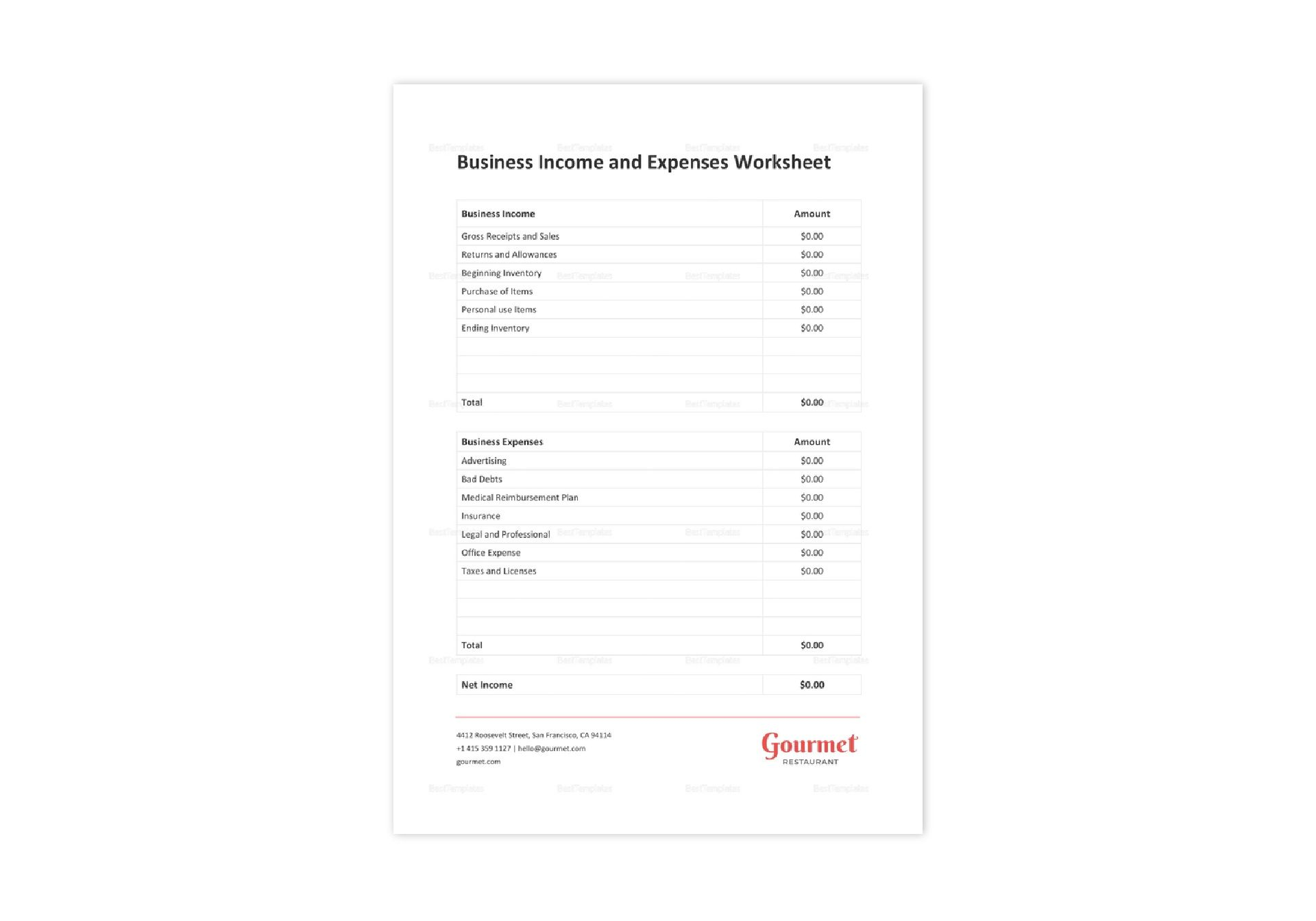 Restaurant Business Income Worksheet Template In Word