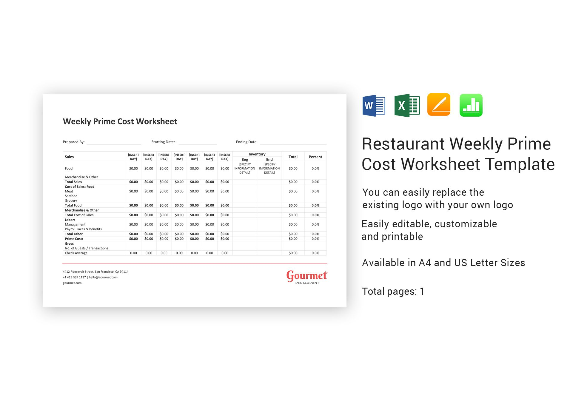 Restaurant Weekly Prime Cost Worksheet Template In Word