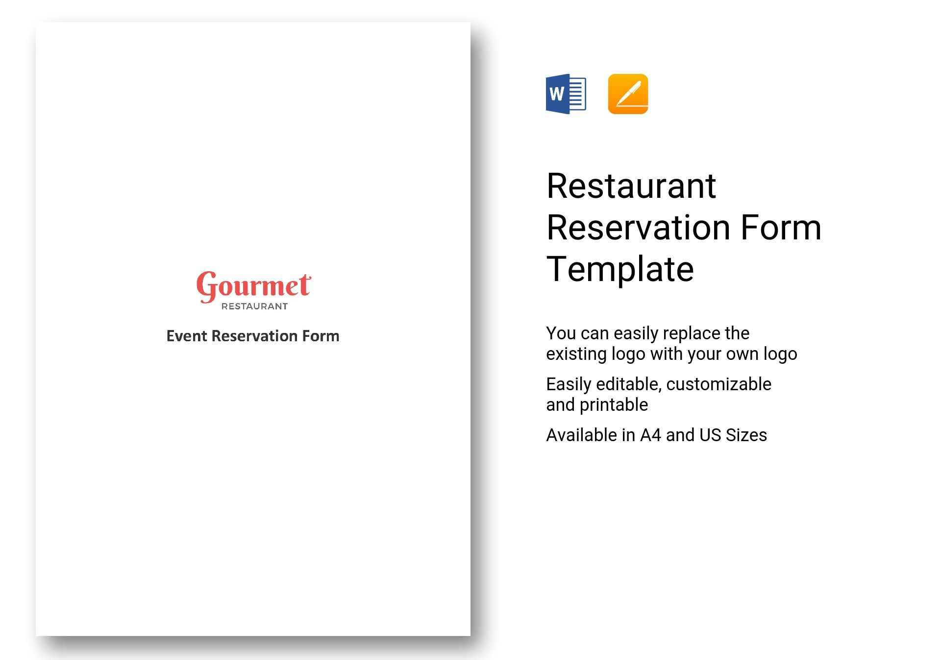 Restaurant Reservation Form Template In Word Apple Pages