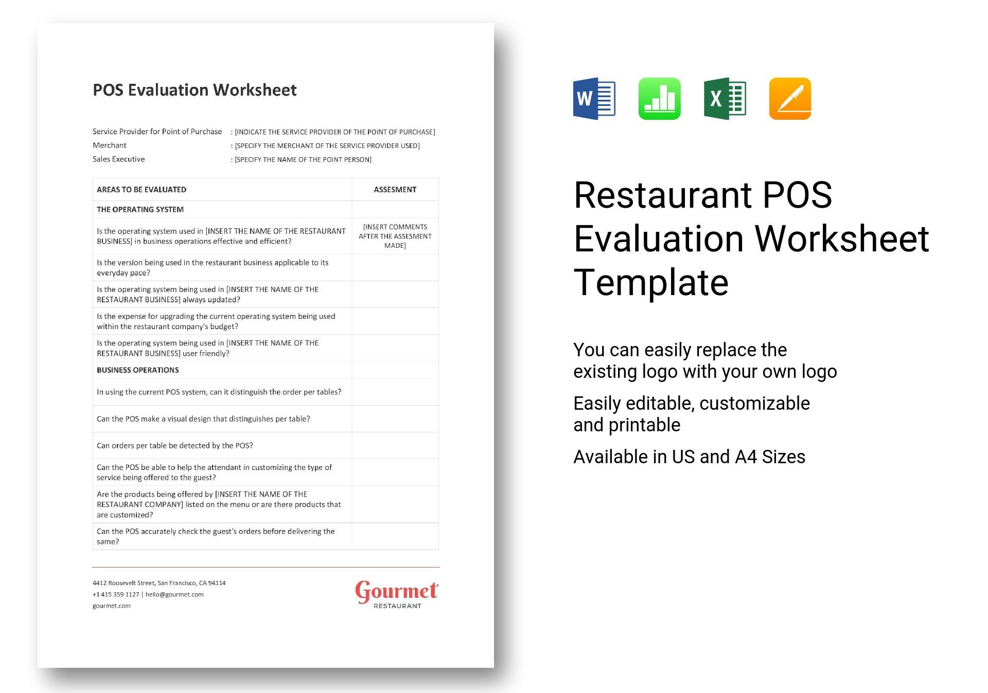 Restaurant Pos Evaluation Worksheet Template In Word