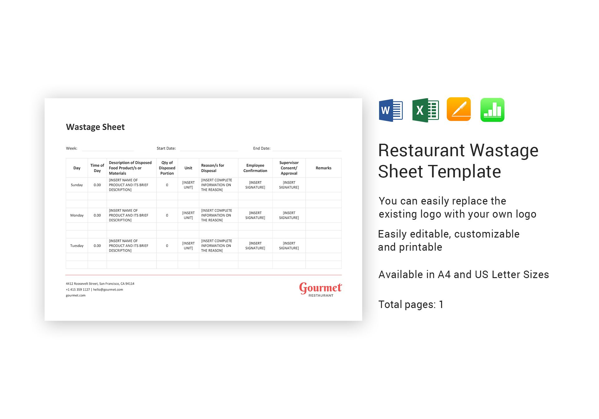 Restaurant Wastage Sheet Template In Word Excel Apple