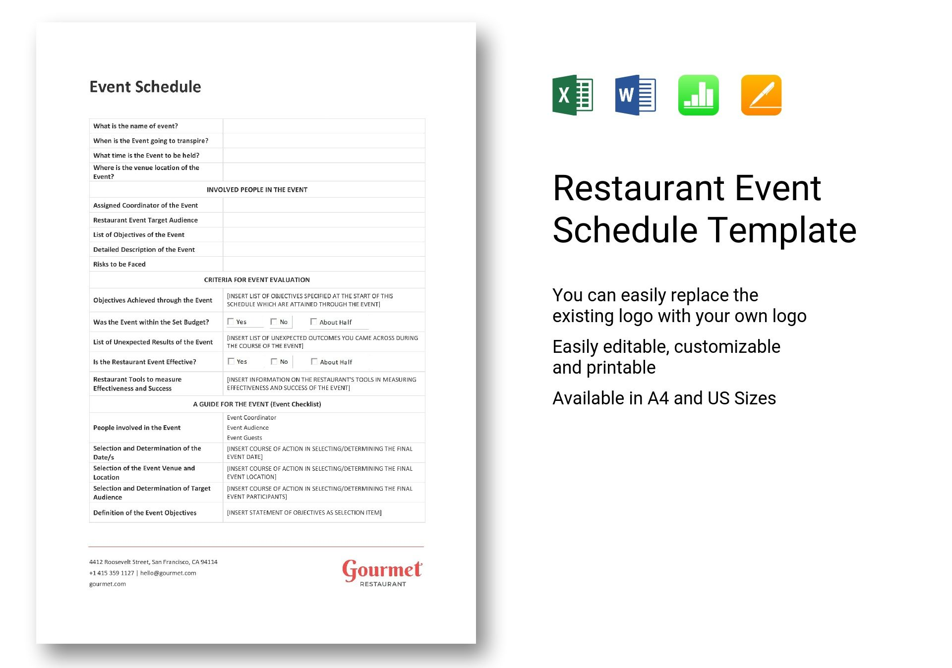 More customers means more cooks. Restaurant Event Schedule Template In Word Excel Apple Pages Numbers