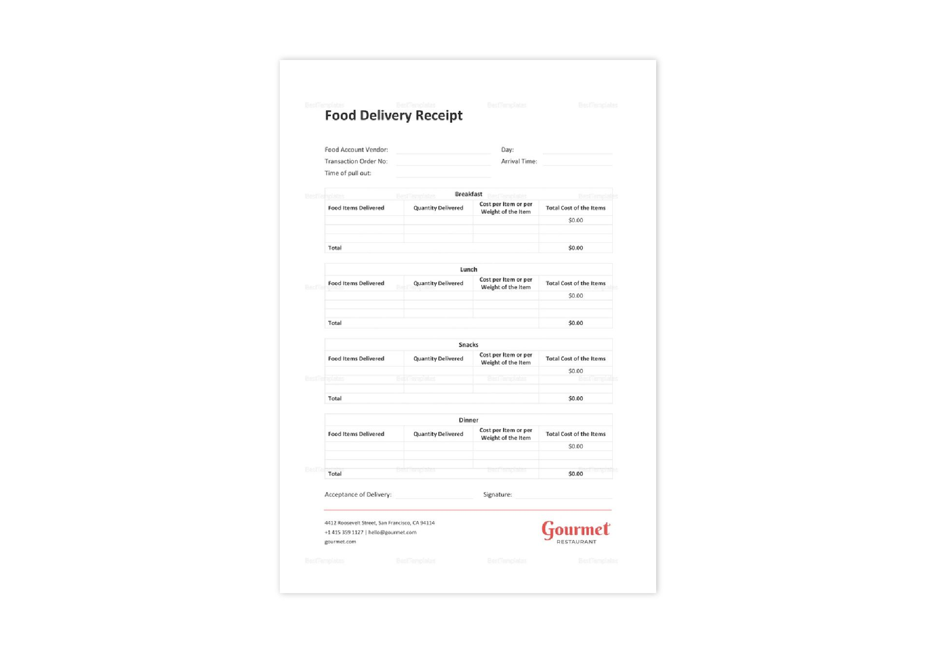 Restaurant Food Delivery Receipt Template In Word Excel