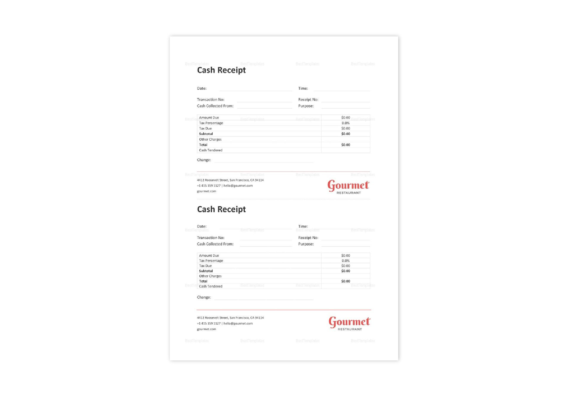 Restaurant Cash Receipt Template In Word Excel Apple