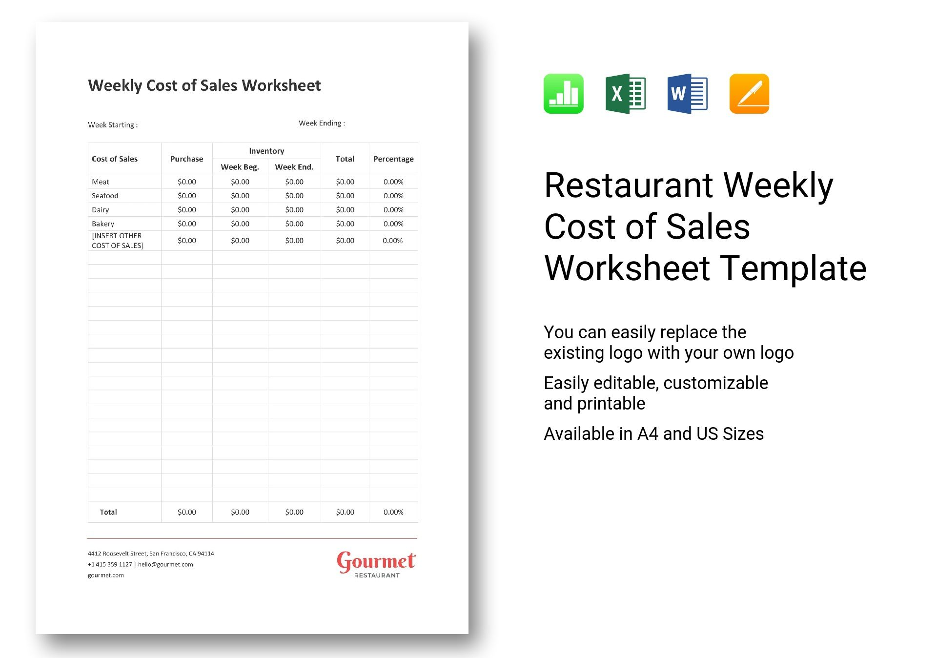 Restaurant Weekly Cost Of Sales Worksheet Template In Word