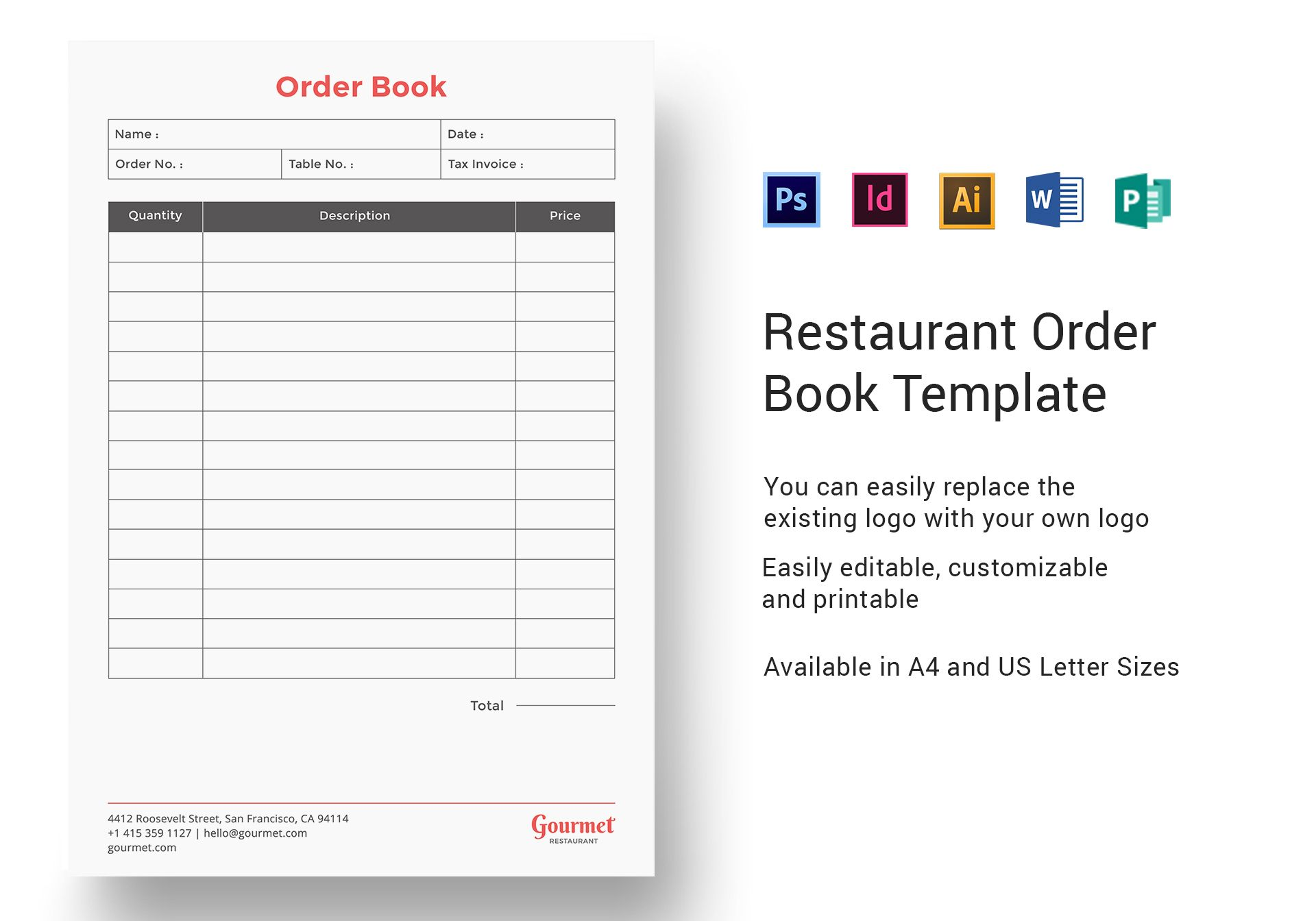 Restaurant Order Book Template In PSD Word Publisher Illustrator InDesign