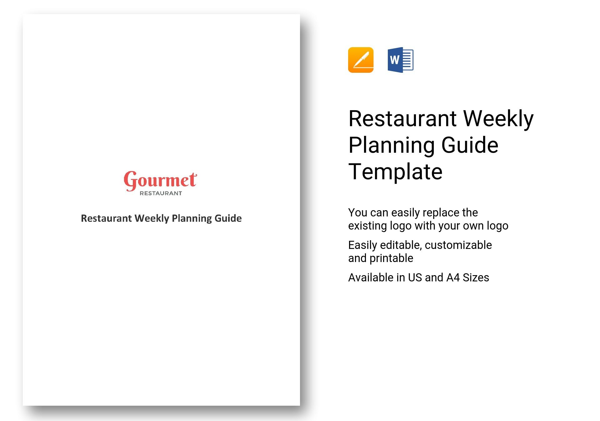 Restaurant Weekly Planning Guide Template In Word Apple Pages