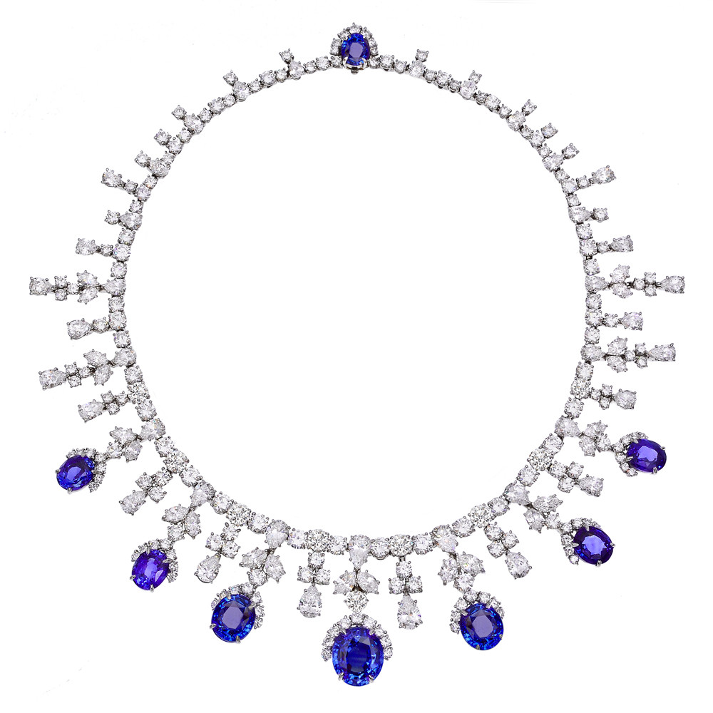 Estate Harry Winston Sapphire & Diamond Fringe Necklace