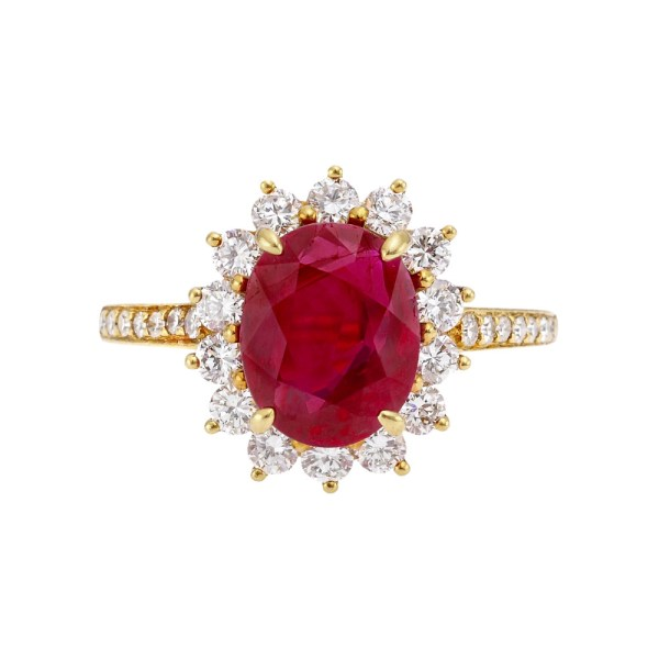 Tiffany Ruby & Diamond Cluster Ring Betteridge