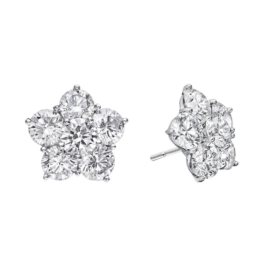 Extra Large Diamond Flower Cluster Earclips (~8 ct tw