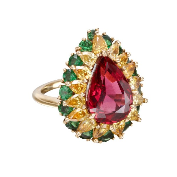 Red Spinel Yellow Diamond & Green Tsavorite Ring Betteridge