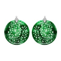 Paolo Costagli Carved Jade Earring Pendants with Diamond ...