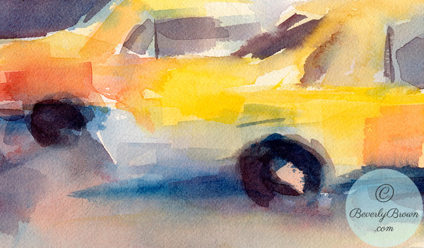 Watercolor painting of taxis in New York City.