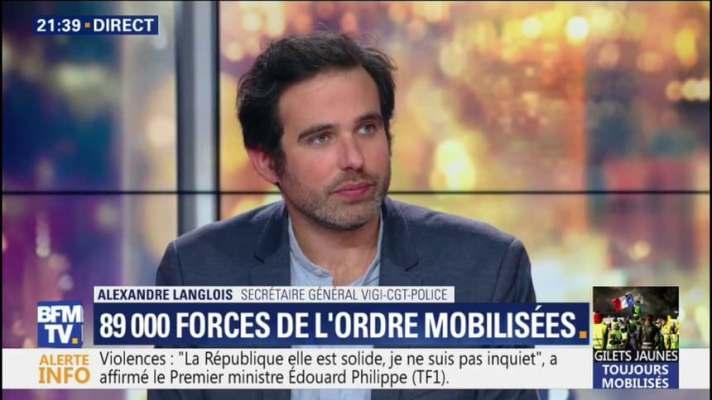 """Alexandre Langlois (Vigi-CGT-Police): """"samedi, si tout le monde pouvait  être chez soi, ce serait l'idéal"""""""