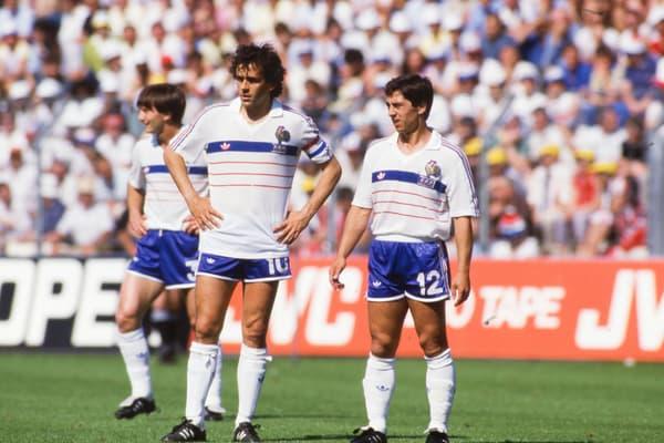 Michel Platini (à gauche) et Alain Giresse en équipe de France lors de l'Euro 1984