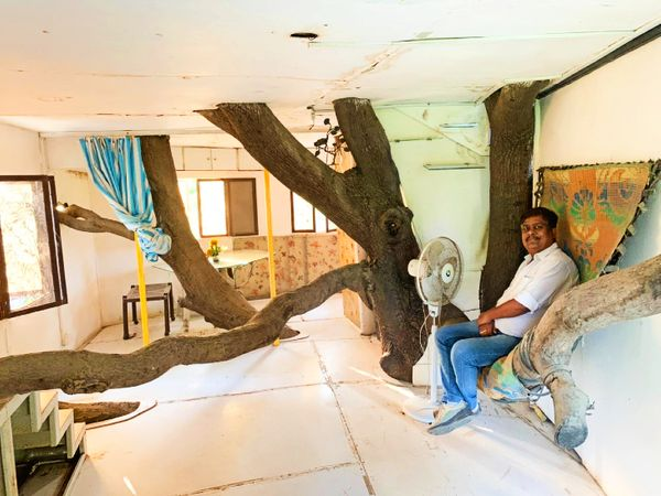 KP Singh's family members resting in the tree house.