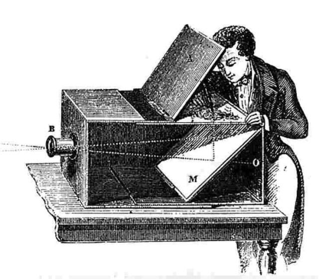 18 वीं शताब्दी में इस्तेमाल होने वाला ऑब्सक्यूरा नाम का कैमरा। इसी से ली गई पहली तस्वीर थी।
