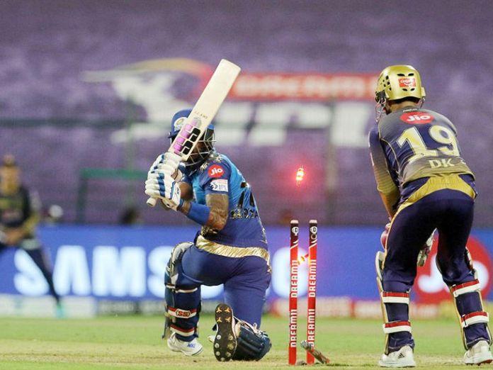 Suryakumar Yadav of Mumbai was bowled by 10 runs.