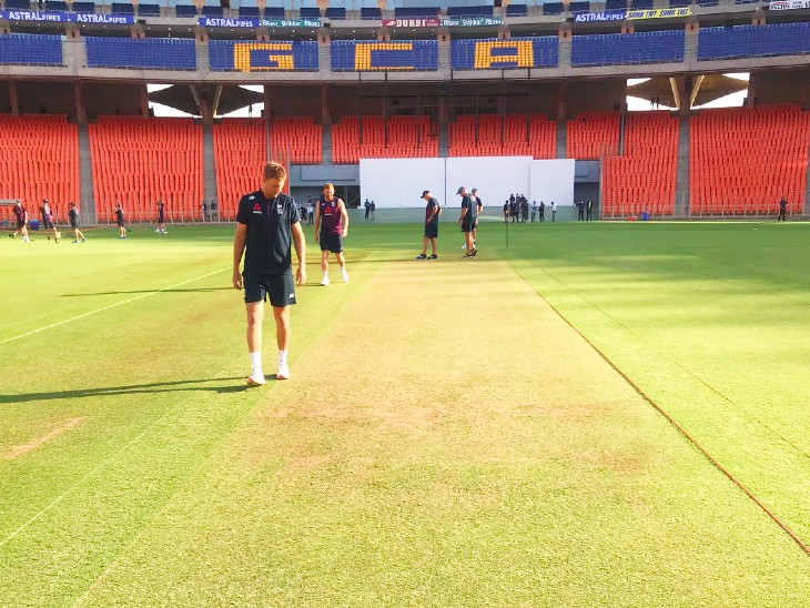 England captain Joe Root inspecting the pitch at Motera Stadium in Ahmedabad.