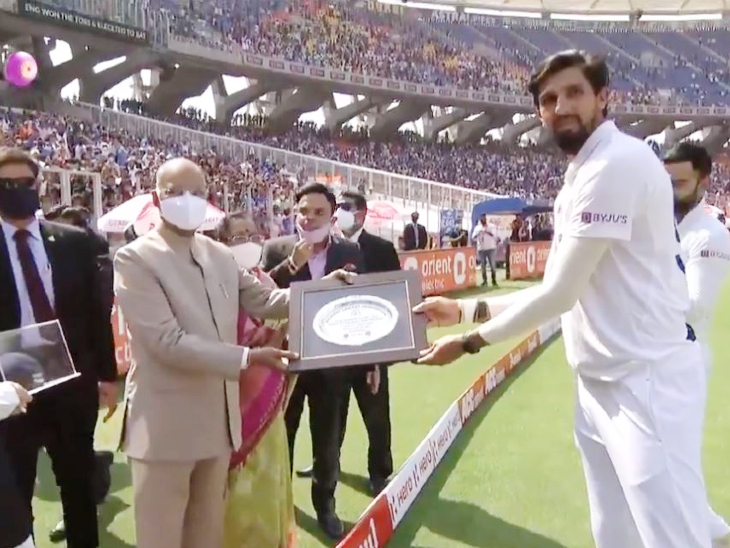 Ishant Sharma, playing the 100th Test, was honored by President Ram Nath Kovind.