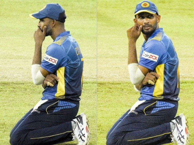Sri Lankan captain Dasun Shanaka looked disappointed after the defeat.