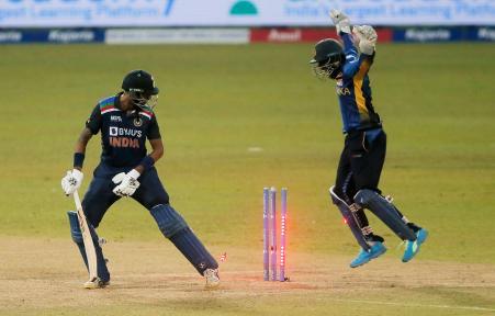 Krunal Pandya was dismissed for 35 runs off 54 balls.  He was clean bowled by Wanindu Hasaranga.