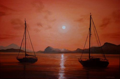 CHERIE DIRKSEN ORIGINAL PAINTING - RED SAILS